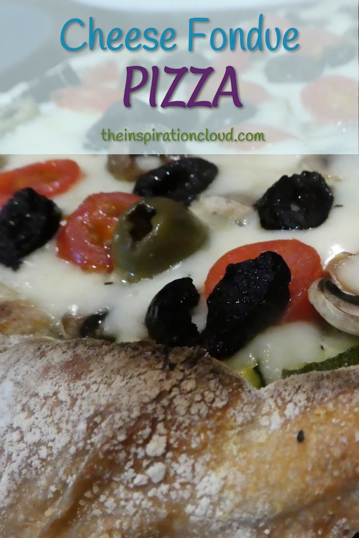 Cheese fondue is fantastic on a pizza! Store bought cheese fondue is a great shortcut to homemade, with all the same ingredients I would use to make my own.
